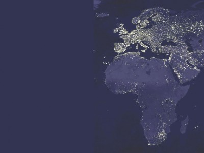 Africa and Europe at night by satellite