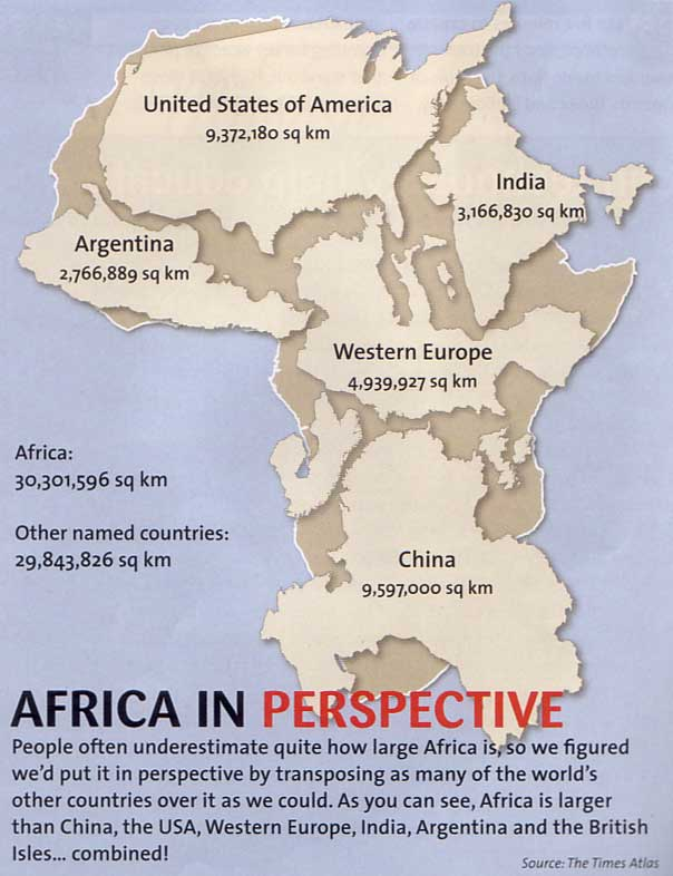 africa map in perspective