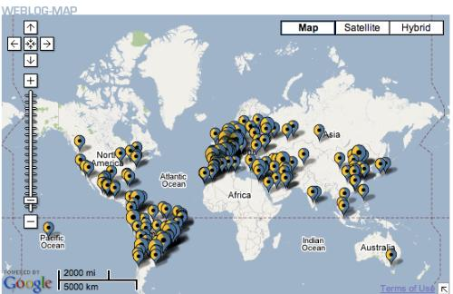 Best of Blogs Awards Map - 2007