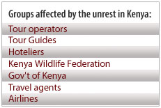 Tourism industry groups affected by unrest in Kenya