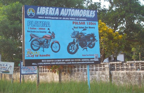 Motorcycle billboard in Liberia