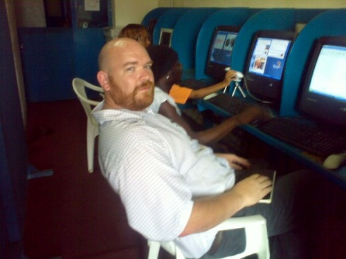 Me in a cyber cafe in Monrovia