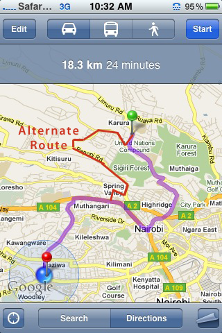 Alternate route to gigiri