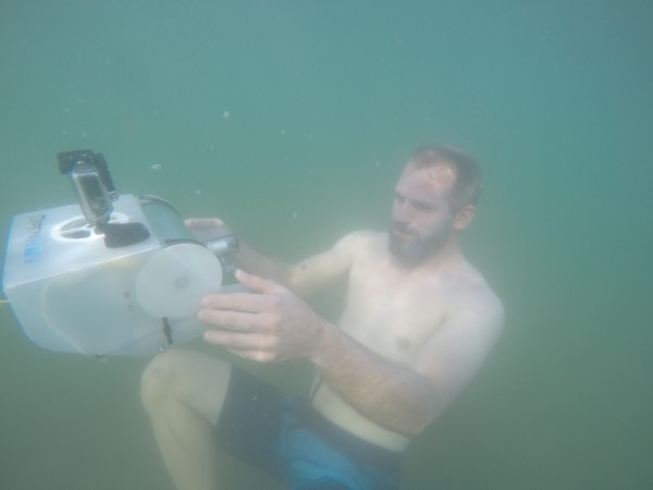 Matt Schoenhold of Teague playing with the OpenROV